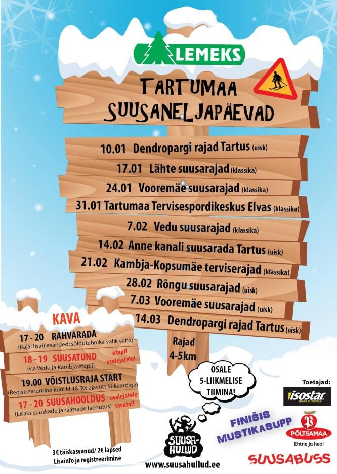 Lemeks Tartumaa Suusaneljapäevakud 2013